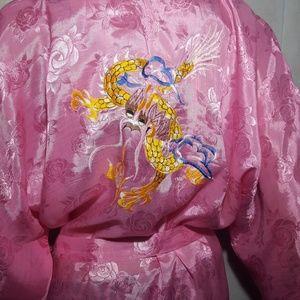 Gorgeous Pink Kimono Like Robe w/ Dragon Detail